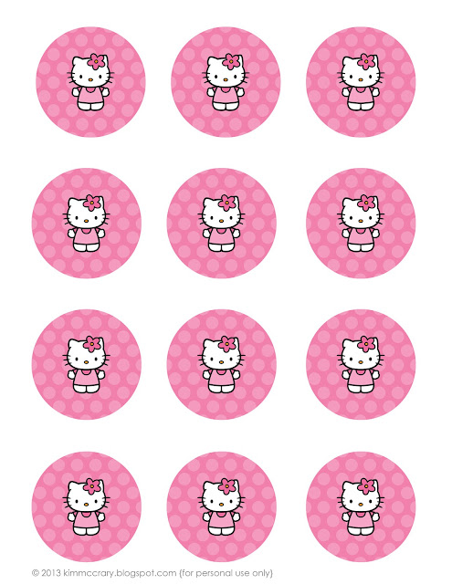 These Hello Kitty party printables can be used as tags on goodie bags or toppers for cupcakes.