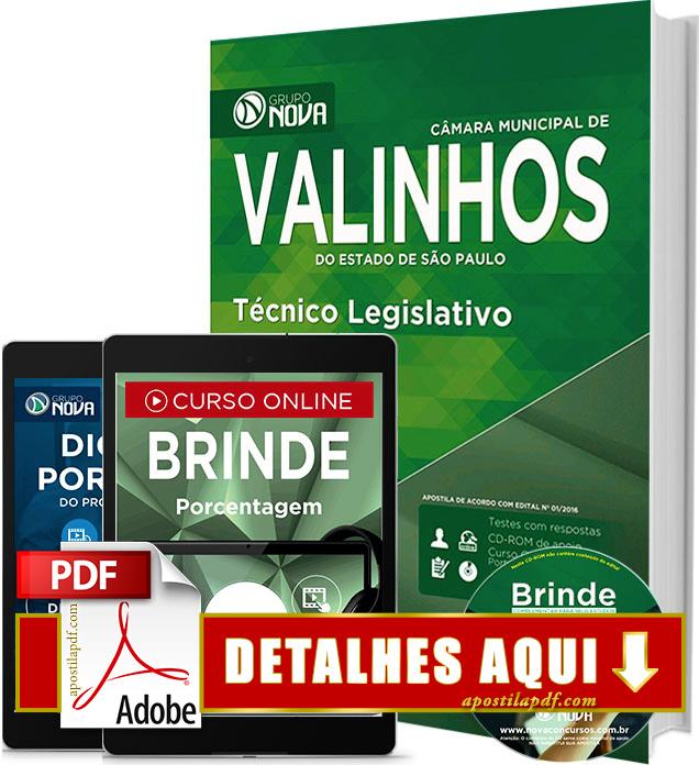 Apostila Prefeitura de Valinhos 2016 Técnico Legislativo Impressa