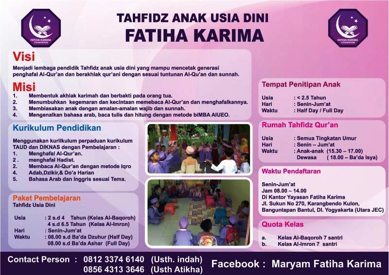 lowongan kerja kepala sekolah TAUD Fatiha Karima