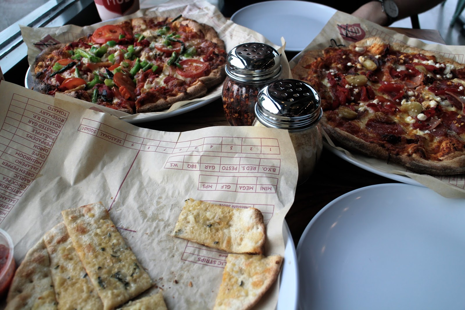 Pizza and garlic bread at MOD Pizza Leeds