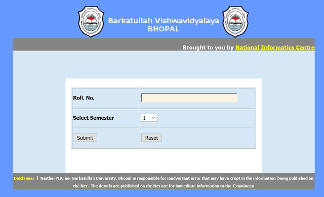 Barkatullah University B.Com. Sem 1 Result 2015 Private Exam