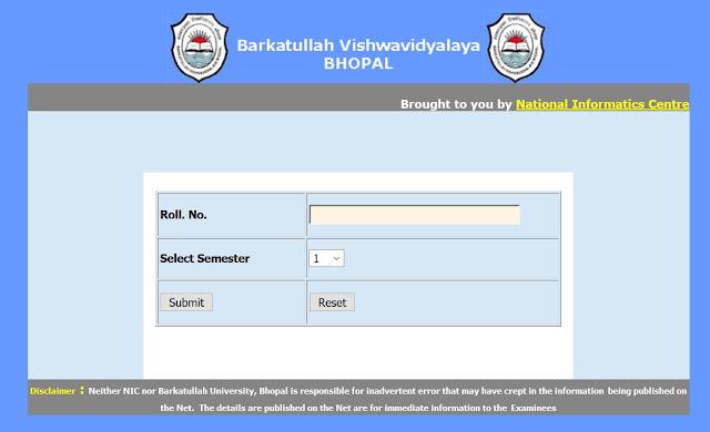 Barkatullah University B.Com. Sem 1 Result 2015 Private Exam