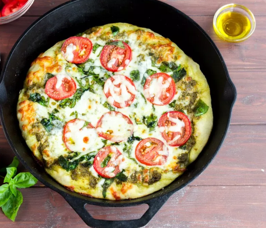 Skillet Pizza with Pesto Tomatoes