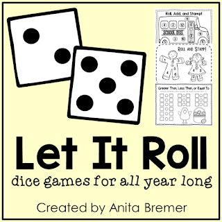 Roll, Add, and Stamp math center activity for Kindergarten and First Grade