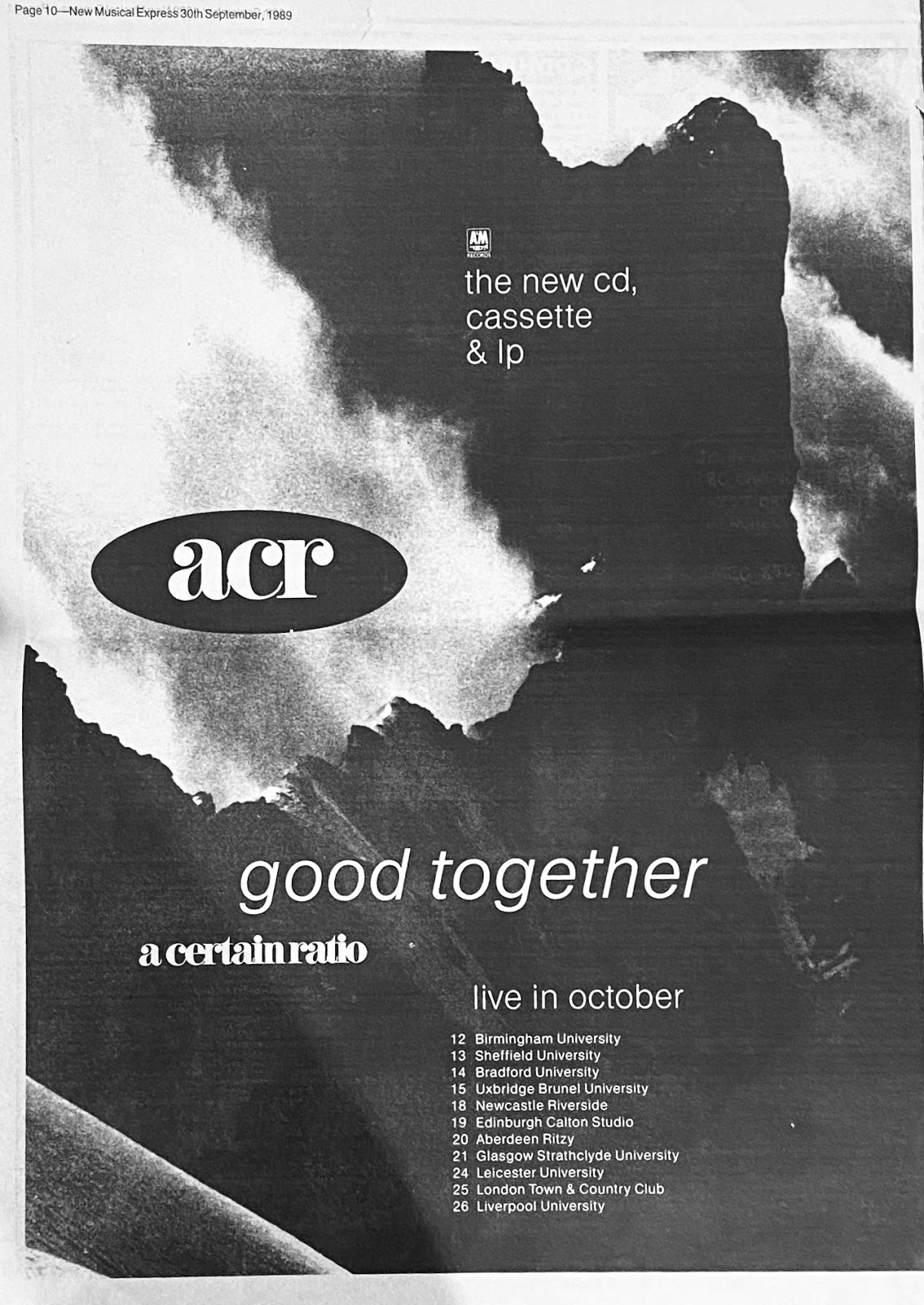 20 October 1989, Ritzy, Aberdeen - ACR Gigography