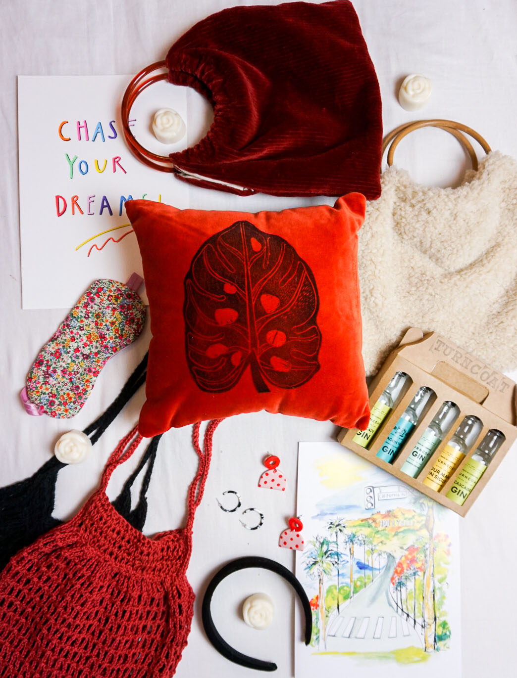 flat lay of gifts from small businesses