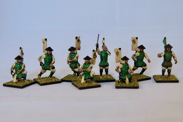 painted ashigaru models with sergeant