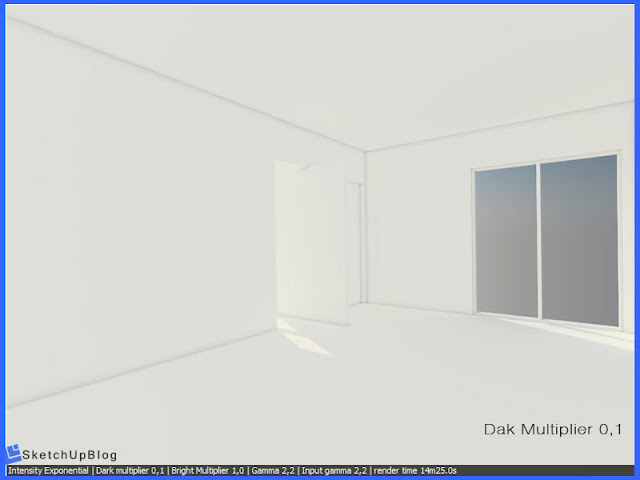 Cara setting Intensity Exponential Color Mapping vray sketchup 2.0 - Dark Multiplier 0,1