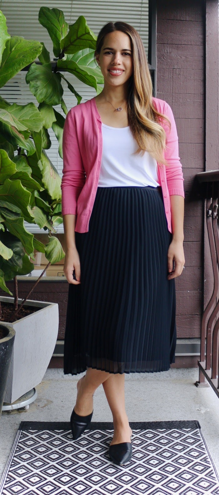 Jules in Flats - Pleated Midi Skirt with Cardigan