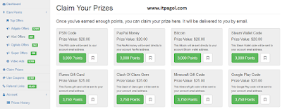 PointsPrizes Claim prizes