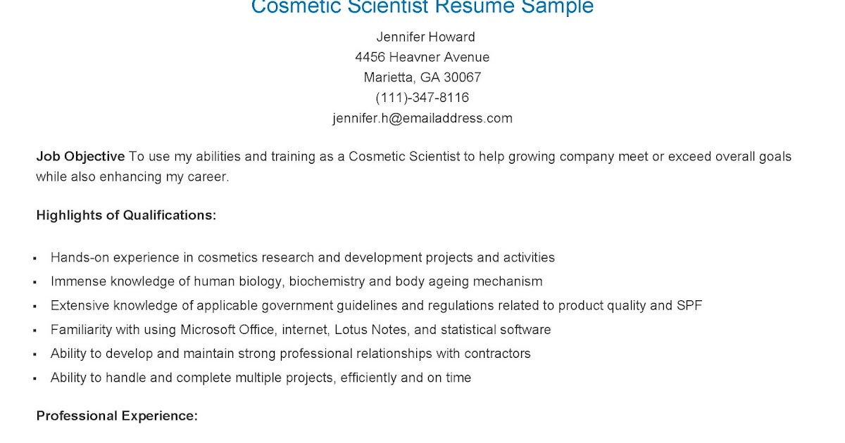 Resume Samples Cosmetic Scientist Resume Sample