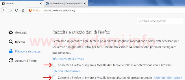 Firefox opzioni raccolta e utilizzo dati