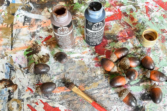Painted Dollar Tree acorns