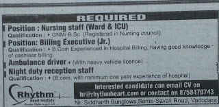 Required Nursing Staff in Rhythm Heart