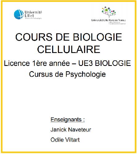 COURS DE BIOLOGIE CELLULAIRE - Licence 1ère année PDF