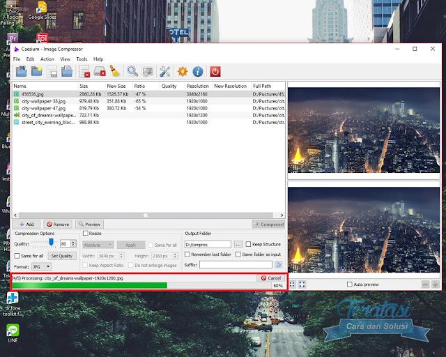 Progress Bar Untuk Melihat Proses Kompresi Gambar atau Foto - Cara Menggunakan Caesium Untuk Kompres atau Mengecilkan Size atau Ukuran Gambar secara Massal atau banyak sekaligus - Teratasi.Com