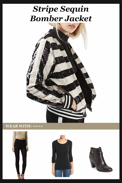 Stripe Sequin Bomber Jacket - a little bit of glam, a little bit sporty and a whole lot of style!