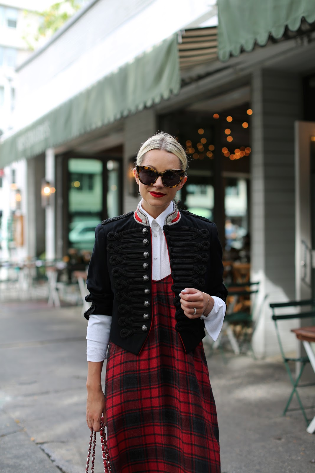3a5ac11f1 Plaid Slip Dress: Zara (shop all of my other favorite slip dresses below).  Shoes: Gucci. Top: Michael Kors. Band Jacket: Ralph Lauren (old, also love  this ...