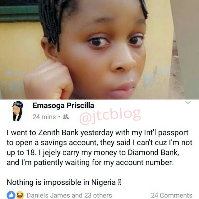 See What Happened When This Underage Girl Went To Open Account In Zenith Bank