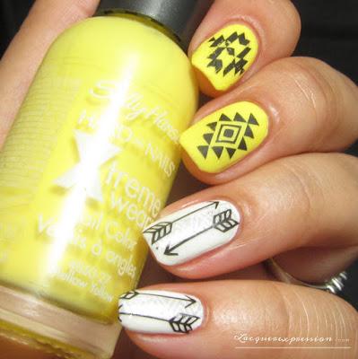 Yellow and white tribal nail art using BornPrettyStore Item BP-W26