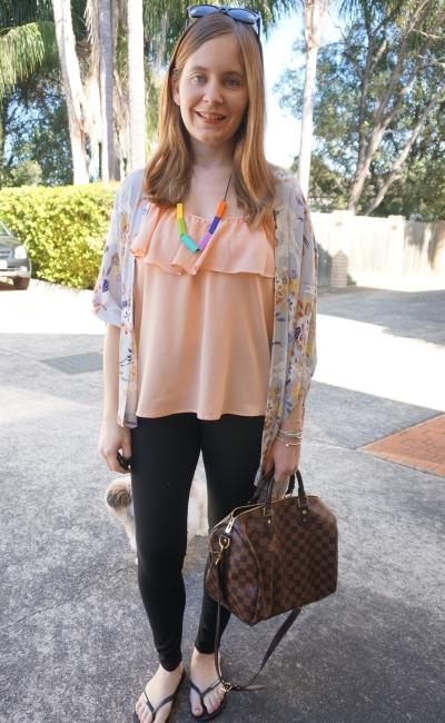 peach ruffle cami black skinny jeans floral kimono autumn colour outfit | AwayFromBlue