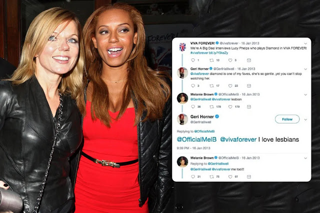 Former lesbian lovers Spice Girls Geri Halliwell and Mel B today. PYGear.com