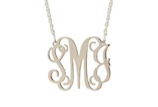 Monogrammed Filigree Necklace in Sterling Silver Medium