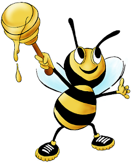 Cartoon Honey Bee Smiling and Offering the World Its Honey
