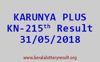 KARUNYA PLUS Lottery KN 215 Result 31-05-2018