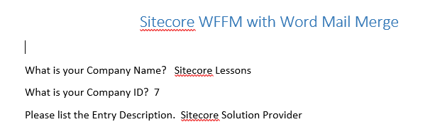 Sitecore WFFM with Word Mail Merge