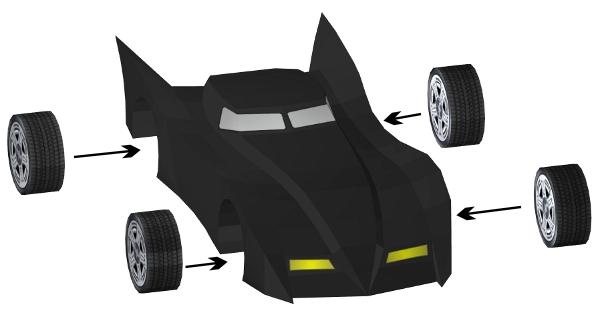 Step 14 in Batmobile paper model build instruction