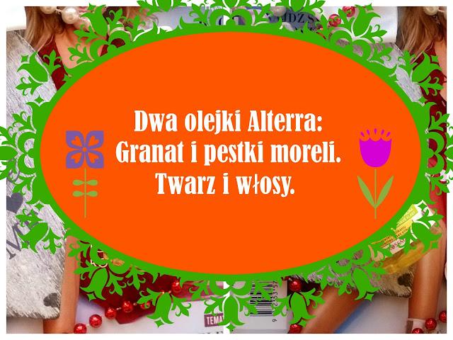Dwa olejki Alterra| Granat i pestki moreli| Twarz i włosy.