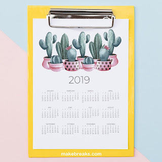 2019 one page calendar