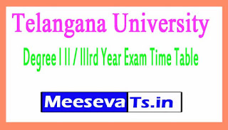Telangana University TU Degree I II / IIIrd Year Exam Time Table
