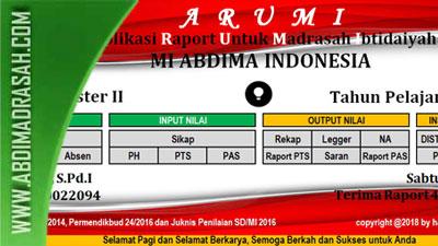 Aplikasi Raport Kurikulum 2013 Untuk Madrasah Ibtidaiyah Arumi Tahun 2018 Abdi Madrasah