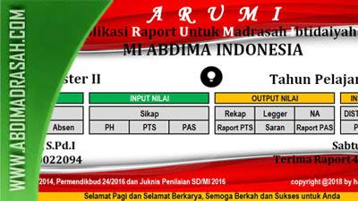 Aplikasi Raport Kurikulum 2013 Untuk Madrasah Ibtidaiyah (Arumi) Tahun 2018
