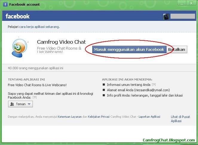 Login Camfrog 6.4 Facebook Account