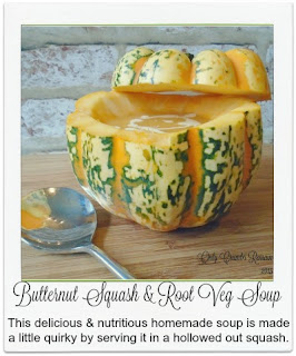 This nutritious, delicious and easy soup, made with butternut squash and other root vegetables, is made a little quirky by serving it in a hollowed out squash!