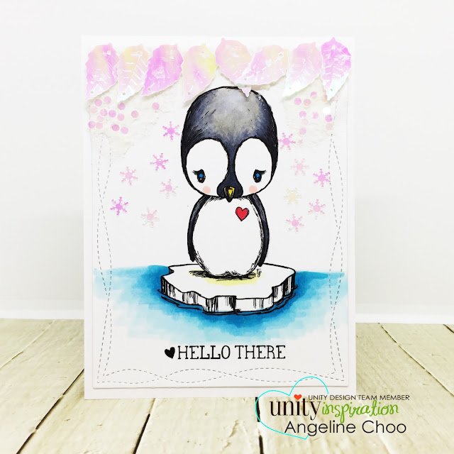 ScrappyScrappy: April Unity Stamp Blog Hop - Cuddlebug Penguin #scrappyscrappy #unitystampco #cuddlebug #youtube #quicktipvideo #video #card #cardmaking #papercraft #stamp #stamping #cuddlebugpenguin #penguin #northpole #katscrappiness #sequin #snowflake #snowflakepaste #copicmarkers