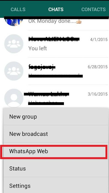 Enabling Whatsapp web on PC via Whatsapp App