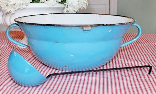vintage enamelware punch bowl and ladle