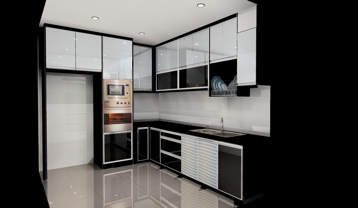 Design Kabinet Dapur Hitam Putih