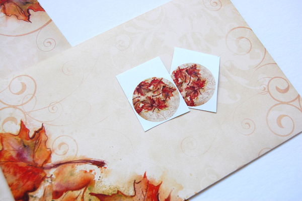 Vintage Fall Border Crescent Envelope and 2 round seals from Paper Direct.