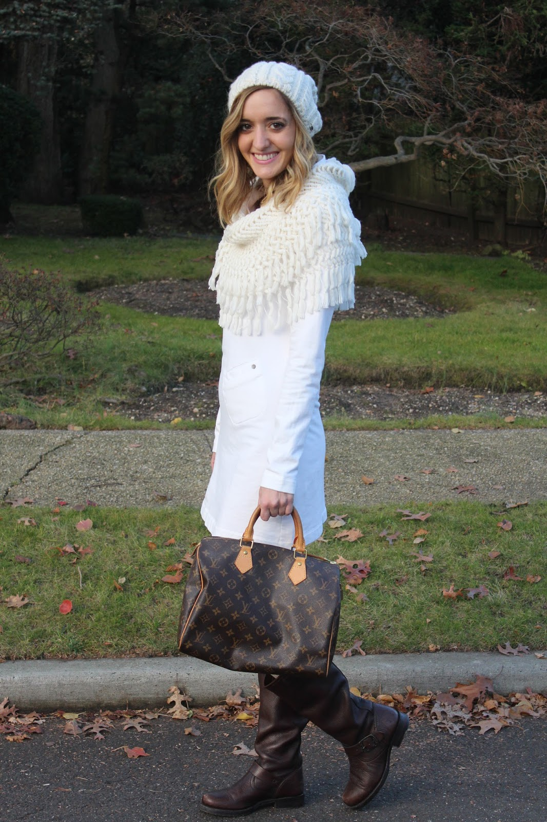 white & brown outfit for winter