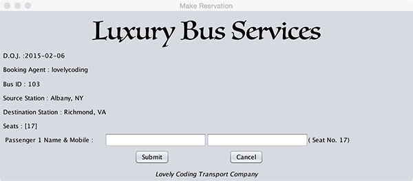 Bus Ticket Reservation System in Java, PHP | Lovelycoding org