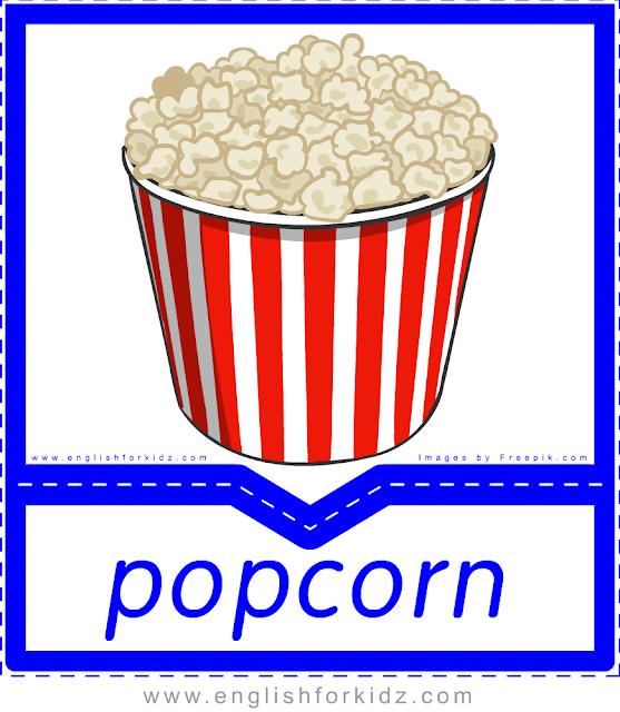 Popcorn - English food flashcards for ESL students
