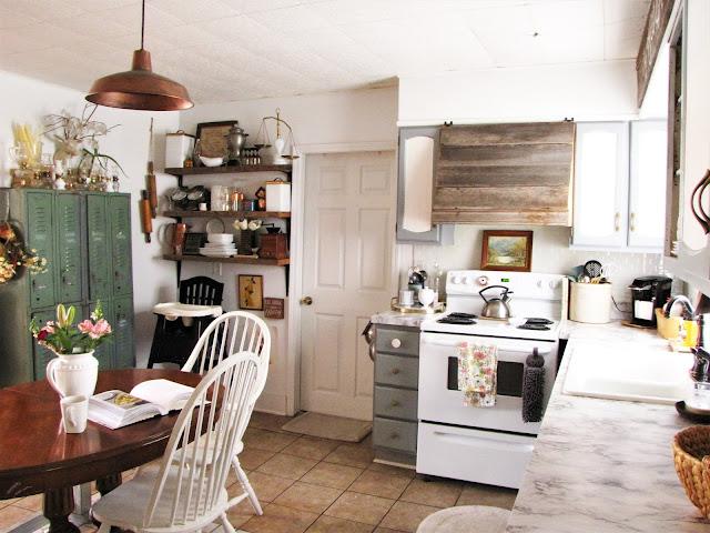 vintage lockers in a farmhouse kitchen