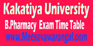 Kakatiya University B.Pharmacy 4th Year 2nd Sem Supply 2016 Exam Time Table