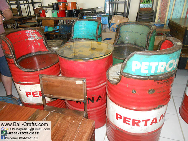 Re purposed oil barrel furniture made in Indonesia