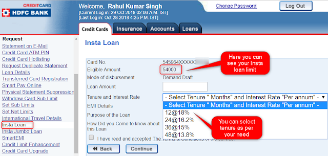 Limit for HDFC Insta Loan